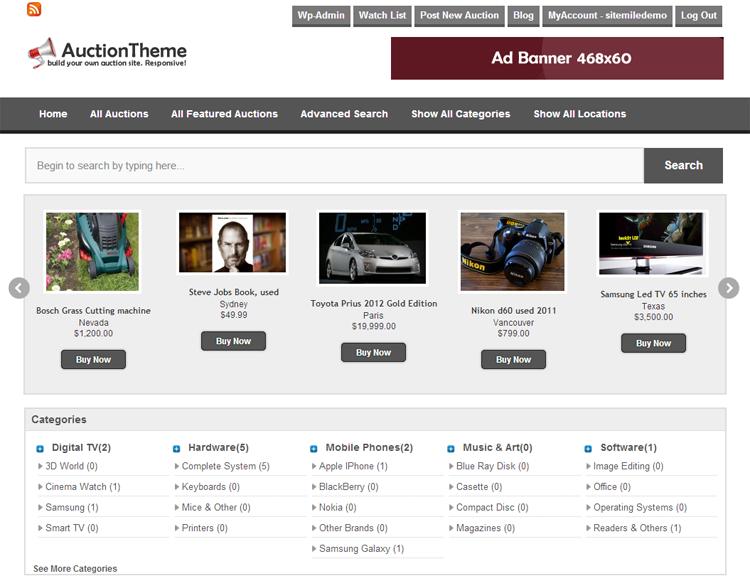 Responsive Auction WordPress Theme