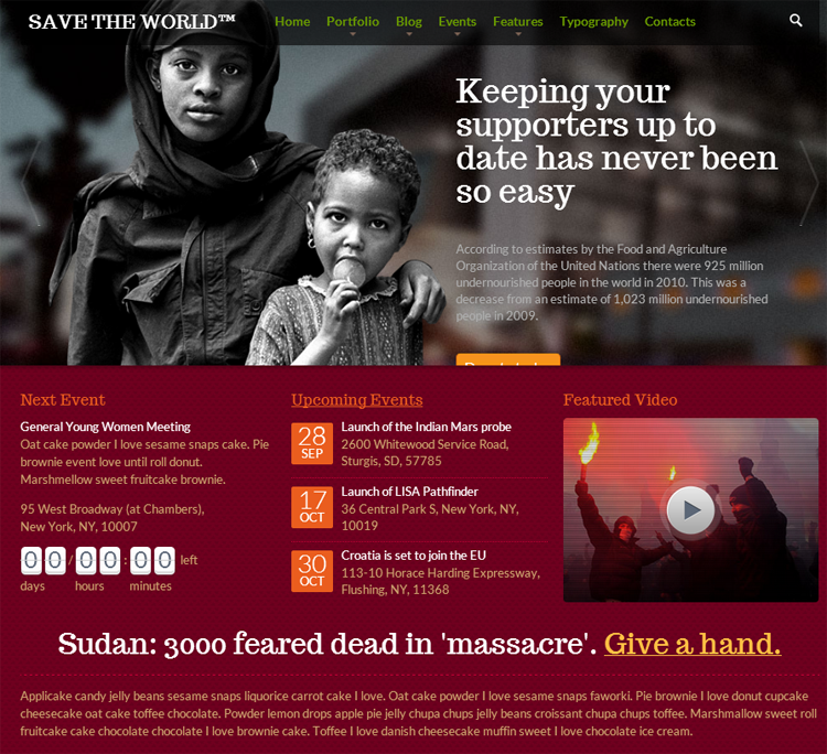 SaveTheWorld Responsive HTML theme for Charity