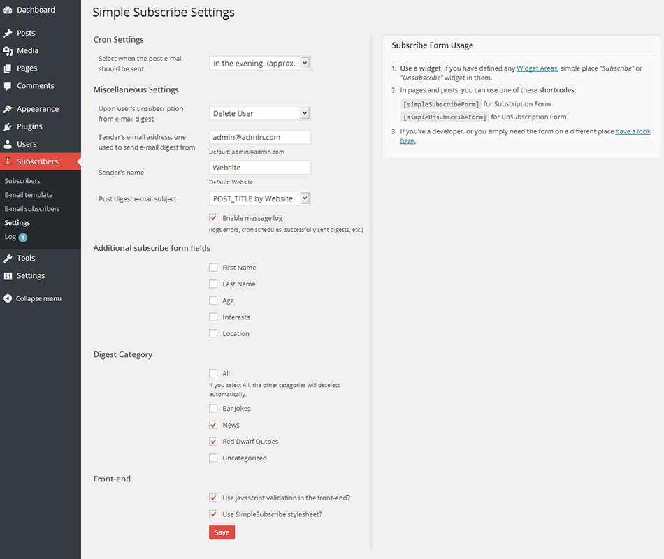 Simple Subscribe Plugin Settings