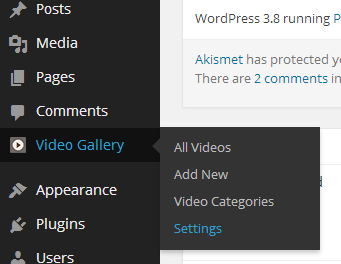 Video Gallery in WordPress Settings