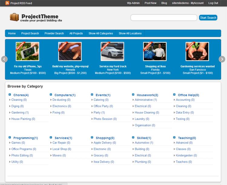 WordPress Project Bidding Theme
