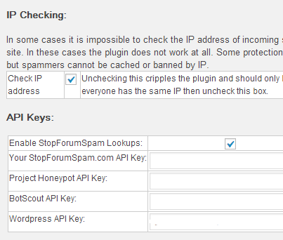 API Keys Stop Spammers Options