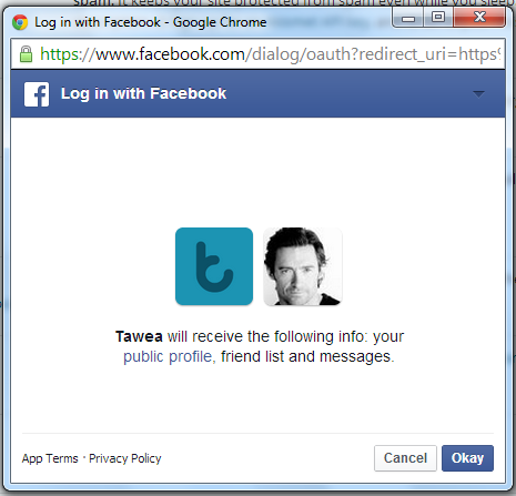 Allow Tawea Facebook app to activate the Facebook Like Chat Widget WordPress