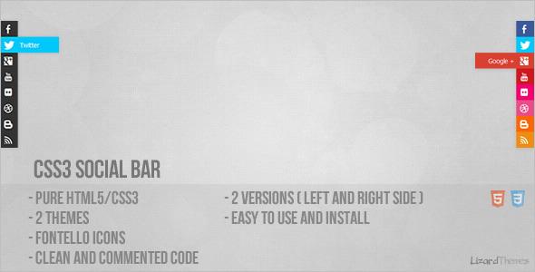 CSS3 Social Bar