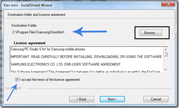 Destination folder and License Agreement for Samsung Kies Mini