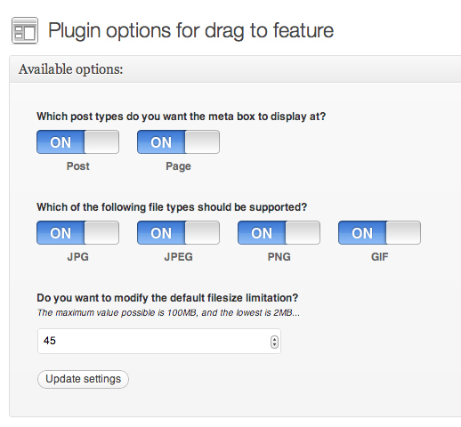 Drag & Drop Featured Image Options Panel