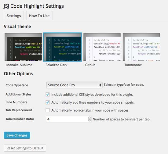 JSJ Code Highlight Plugin Settings Page