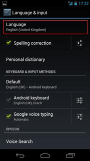 Language English United States Android