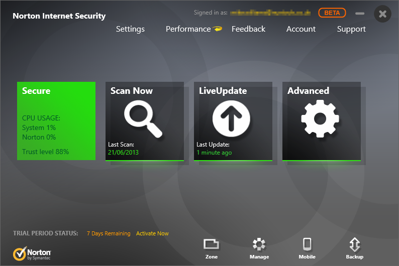 Norton Antivirus four options such as Quick Scan Reputation Scan, Full System Scan and Custom Scan
