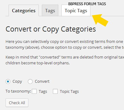 Taxonomy Converter Options