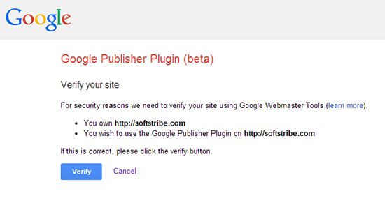 Verify Google Webmasters Tool with Google Publisher Plugin (Beta)