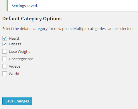 Default Category Options