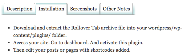 Rollover Tabs Screenshot