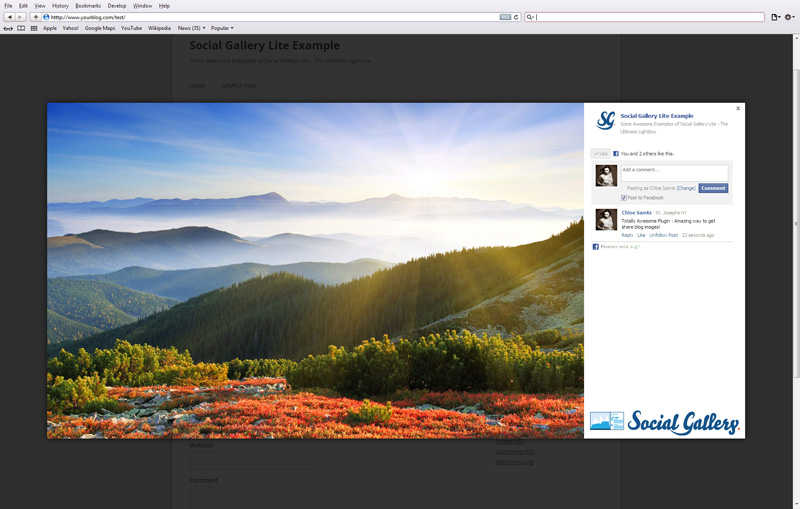 This Screenshot shows Social Gallery Lite in action