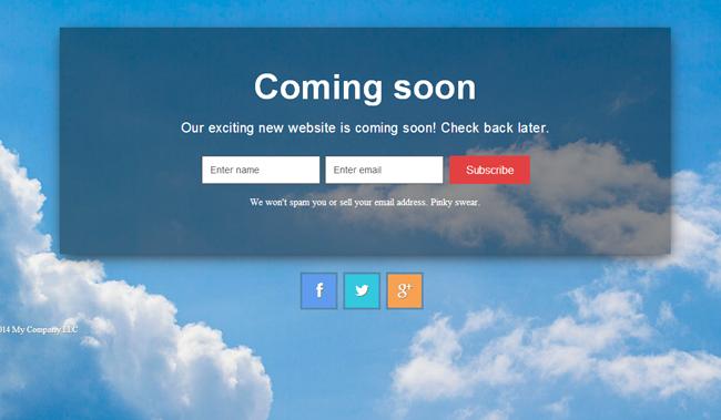 Easy Pie Coming Soon WordPress