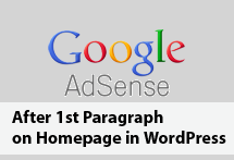 Google AdSense After First Paragraph on Homepage in WordPress