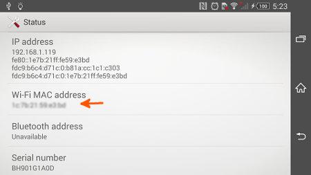 Find MAC/IP Addresses in Xperia Z1