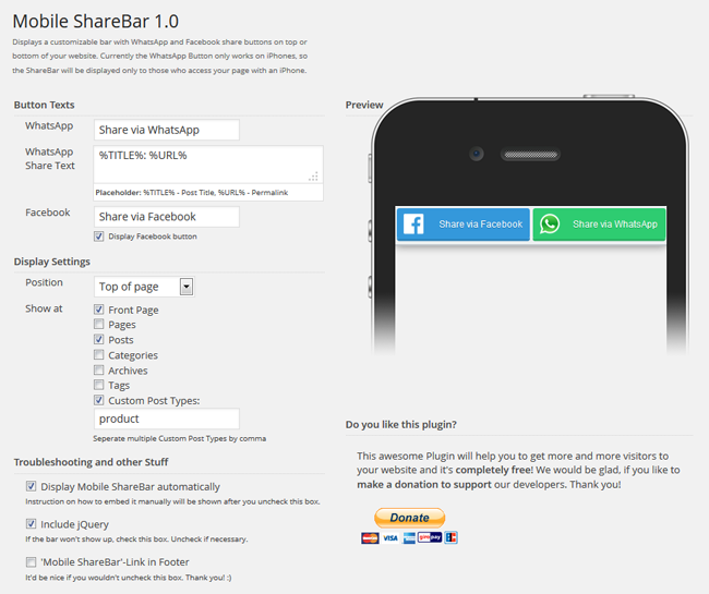 Mobile Sharebar WordPress Screenshot