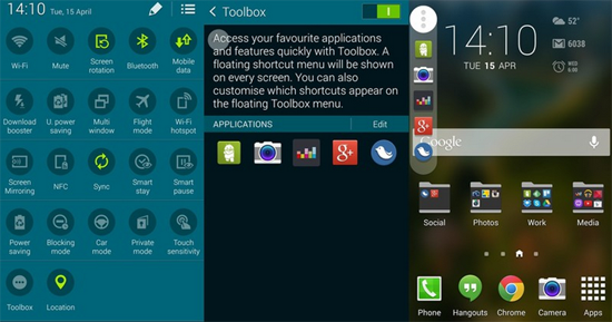 Toolbox Feature in Galaxy S5