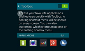 Toolbox on Samsung Galaxy S5