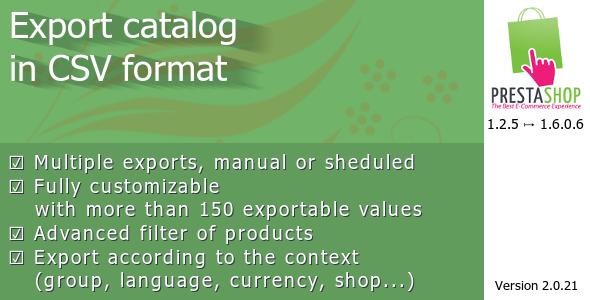 Export catalog in CSV format
