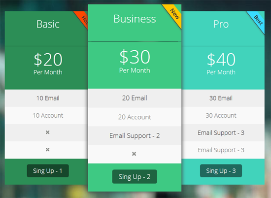 Pricing Tables WordPress Plugin