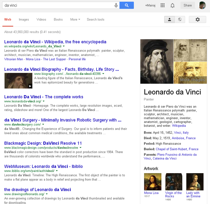 Learn more about Da Vinci via Google search