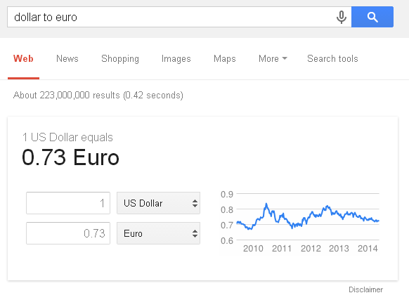 Google currency converter (dollar to euro)