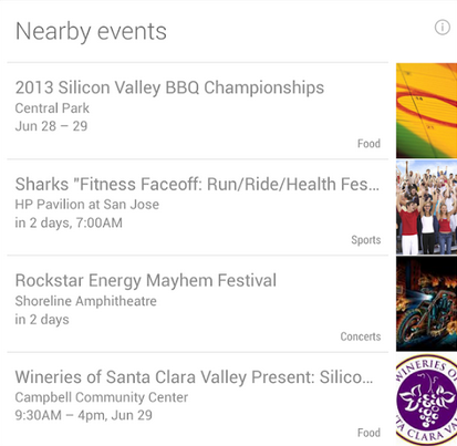 Google Now nearby events
