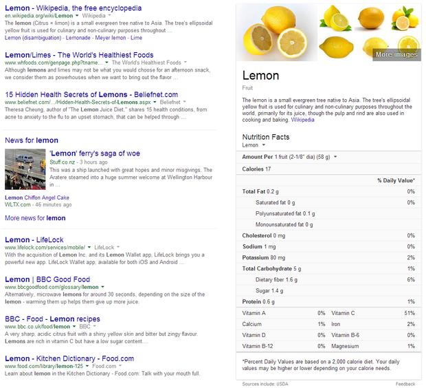 Lemon's nutrition facts