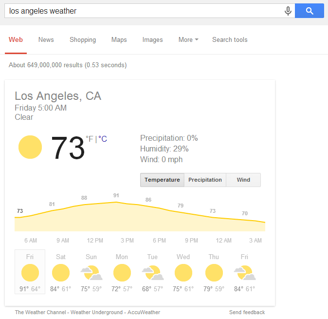 Use Google to check weather