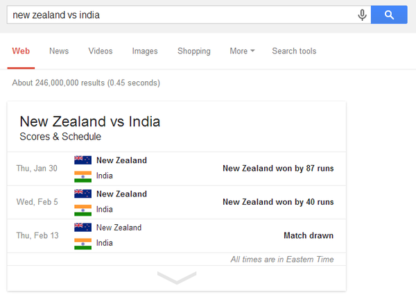 Google scores and schedule