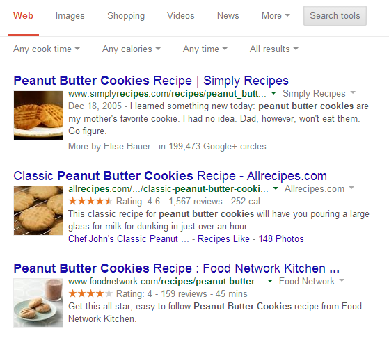 Google recipes new features/filters