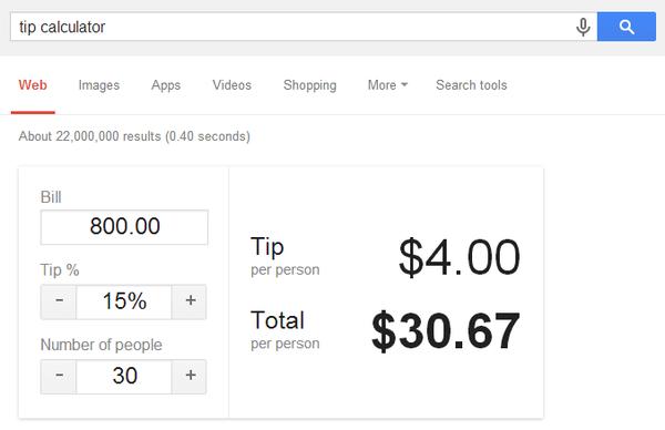 Google's built-in tip calculator