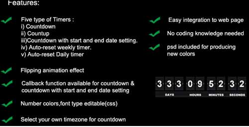 All-in-one Jquery Flip Timer Package Plugin