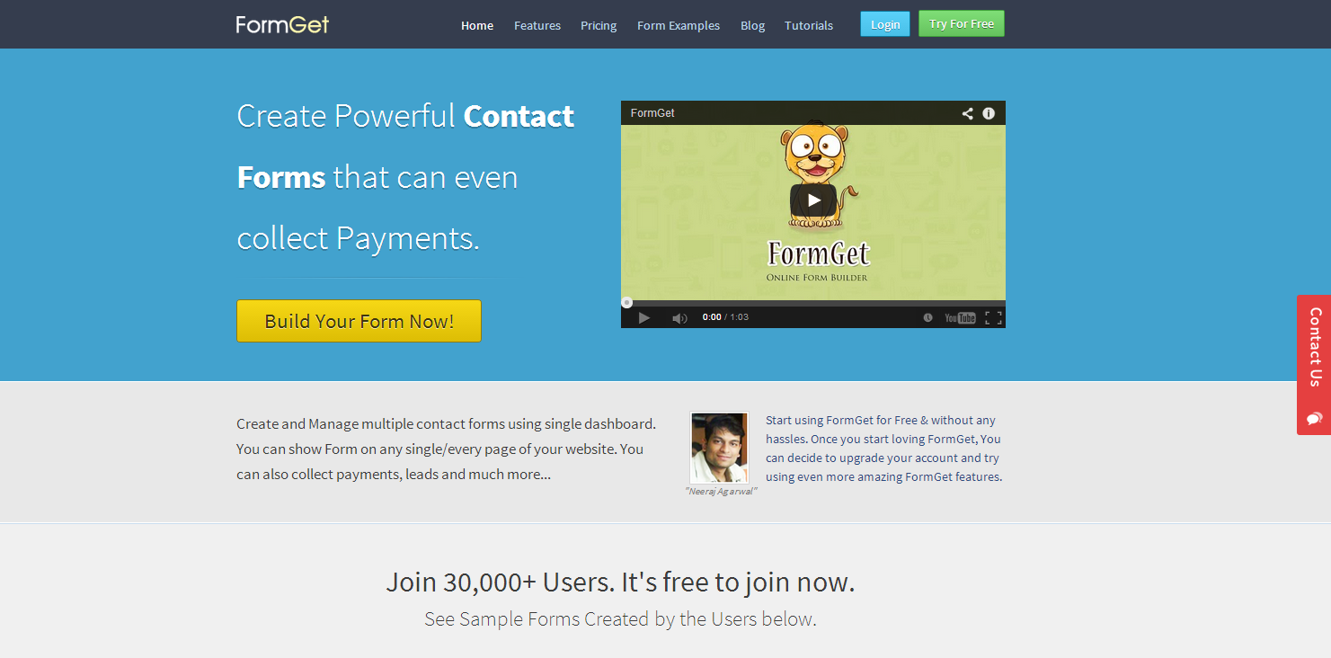 FormGet – A Powerful HTML Contact Form To Create Form & To Collect Payments