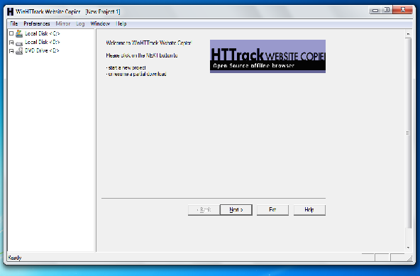 HTTrack Website Copier Screenshot 01