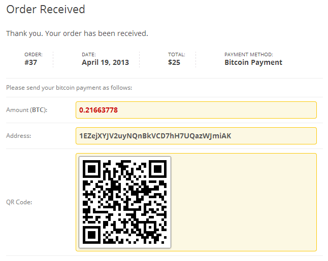 Bitcoin Payments for WooCommerce Screenshot 01