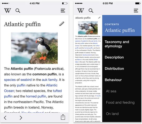 Wikipedia iOS App Screenshot
