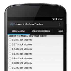 Nexus 4 Modem Flasher Android
