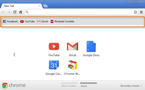 Chrome's bookmark bar