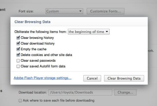 Delete browsing history dialog