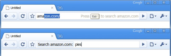 Search a site directly via omnibox