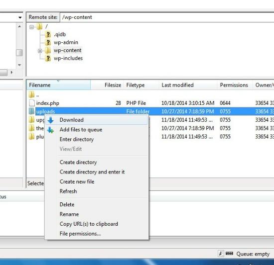 Download Uploads directory - Backup WordPress