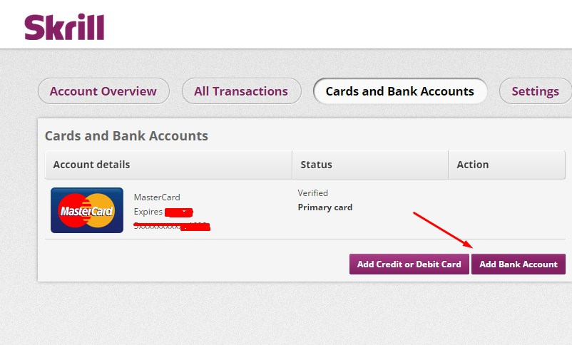 Add Bank Account Skrill