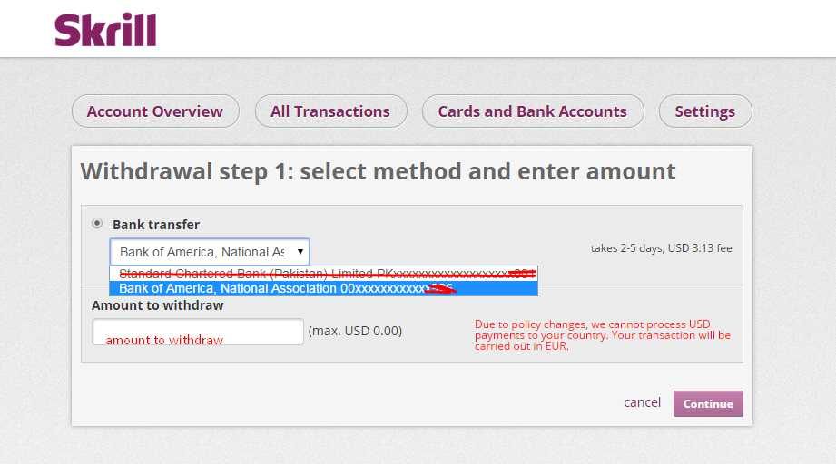 Withdraw Funds from Skrill to Payoneer