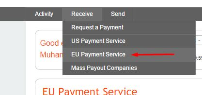 Euro Payment Service from Menu