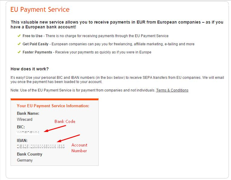 Euro Payment service Bank Code and Account Number