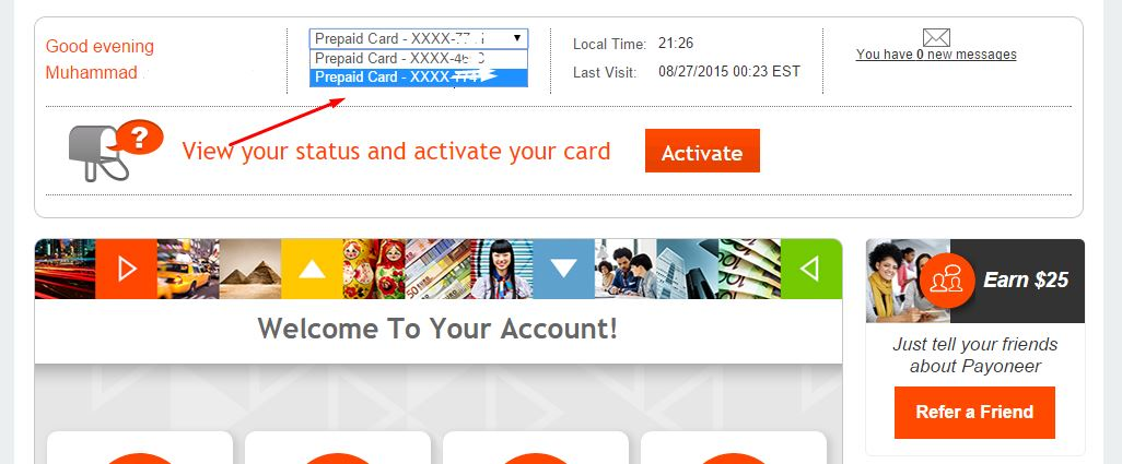 Select the Euro account from top in Payoneer