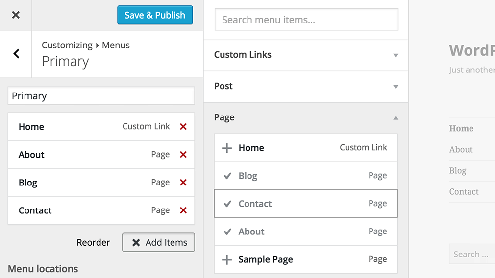 menu customizer WordPress